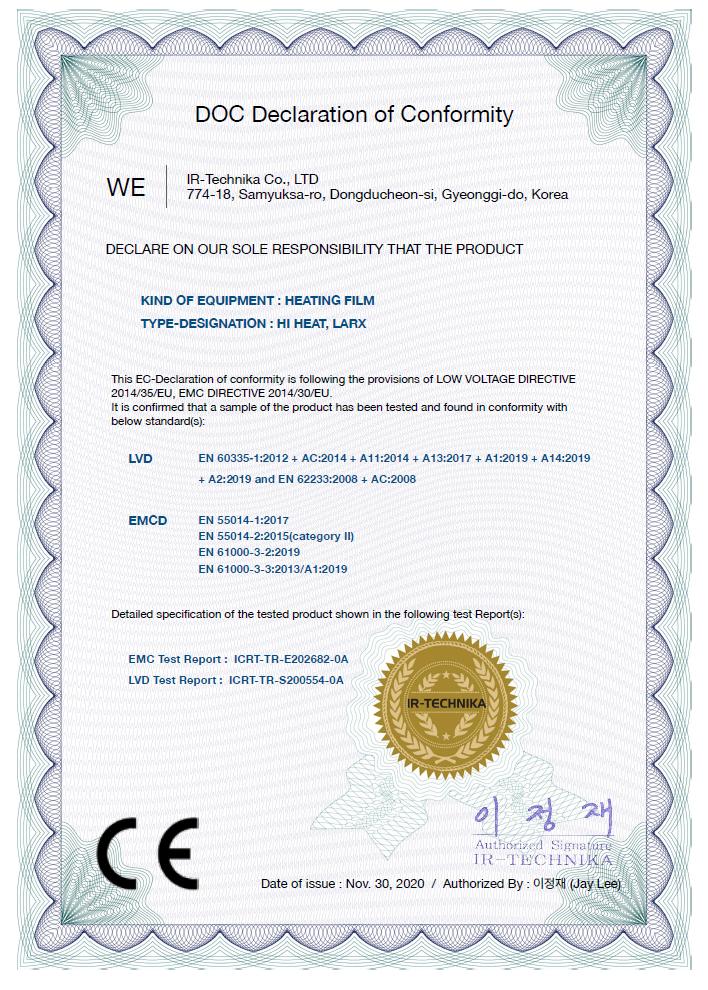 Zertifizierung von LARX UHLIKOVEFOLIE.CZ